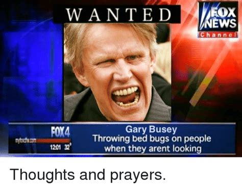 Gary Busey Meme - wanted ews channe foy4 gary busey throwing bed bugs on