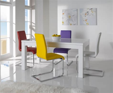White Gloss Dining Table And Chairs Mirabel White High Gloss Extending Dining Table And Chairs