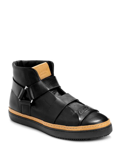 calvin klein sneakers mens calvin klein high top multistrap leather sneakers in black