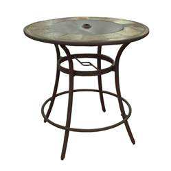 Patio Bar Table And Chairs Shop Allen Roth Safford 40 In Brown Aluminum Frame Top Patio Bar Height Table At