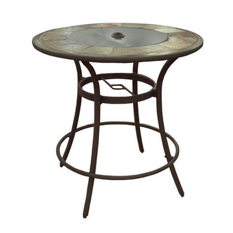 Patio Pub Tables Shop Allen Roth Safford 40 In Brown Aluminum Frame Top Patio Bar Height Table At