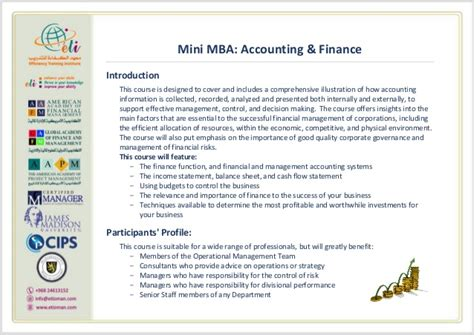 Gd Topics For Mba Finance by Mini Mba Account Finance