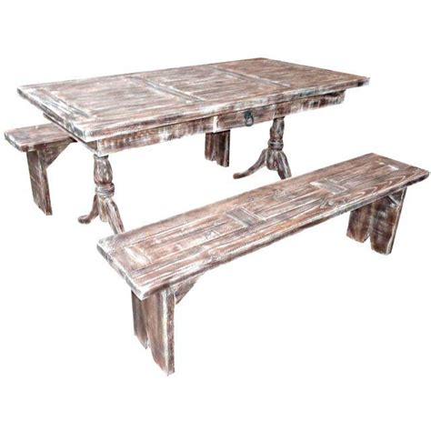 pine table and benches rustic pine dining table benches chairish