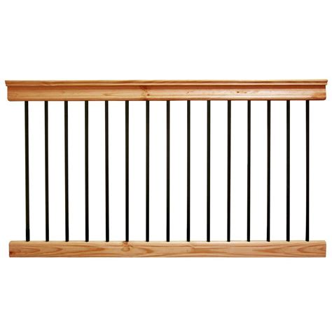 home depot banisters deckorail 6 ft aluminum cedar tone southern yellow pine deck railing kit 196312 the
