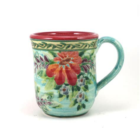 flower design mugs porcelain coffee mug floral design blue background red