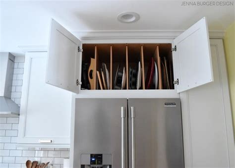 vertical tray dividers kitchen cabinets full depth cabinet above the refrigerator with vertical