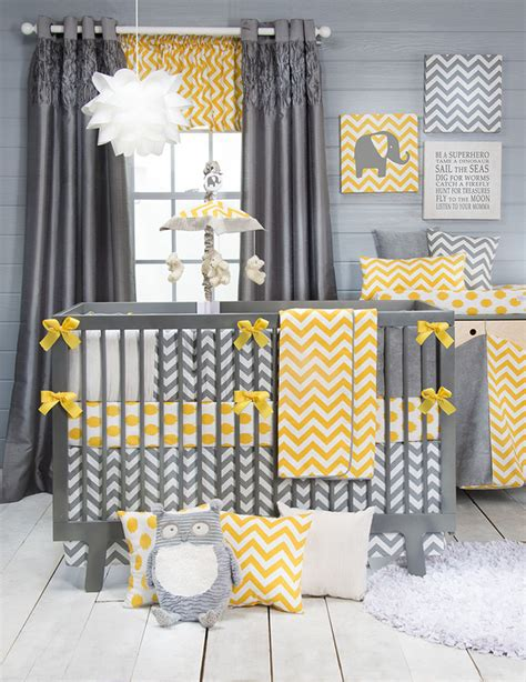 grey yellow chevron dot crib bedding baby bedding set