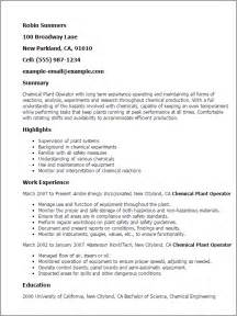 Ammunition Specialist Cover Letter by Professional Chemical Plant Operator Templates To Showcase Your Talent Myperfectresume