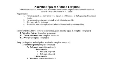 narrative speech outline template narrative speech outline doc docs