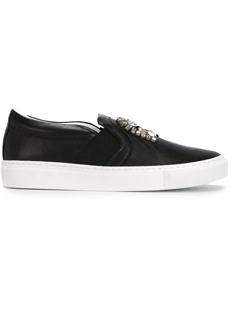 lanvin slip on sneakers lanvin embellished slip on sneakers in black lyst