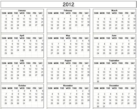 printable yearly calendar for 2012 2012 yearly calendar printable one page