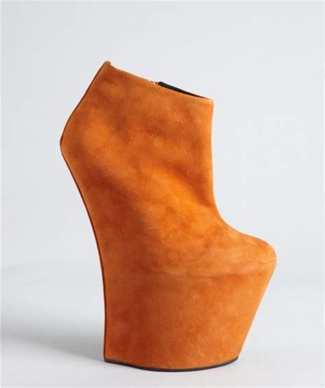 giuseppe zanotti burnt orange suede sculpted wedge ankle