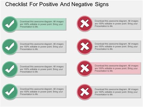 dd checklist for positive and negative signs flat