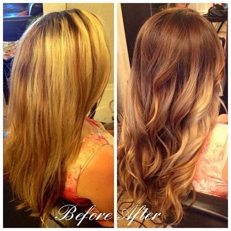 obre to grow out highlights drab to fab makeover grown out blonde highlights turned