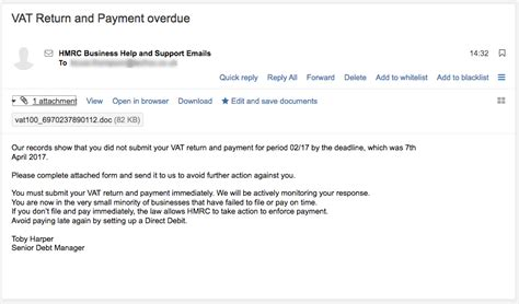 deadlines for submission of vat returns and payment of vat vat return and payment overdue scam email techcosupport com
