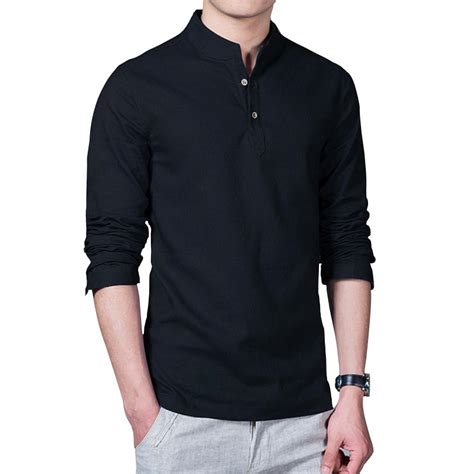 Marcos Black White Kemeja Pria Style Casual Slim Fit buy wholesale mandarin collar shirt from china