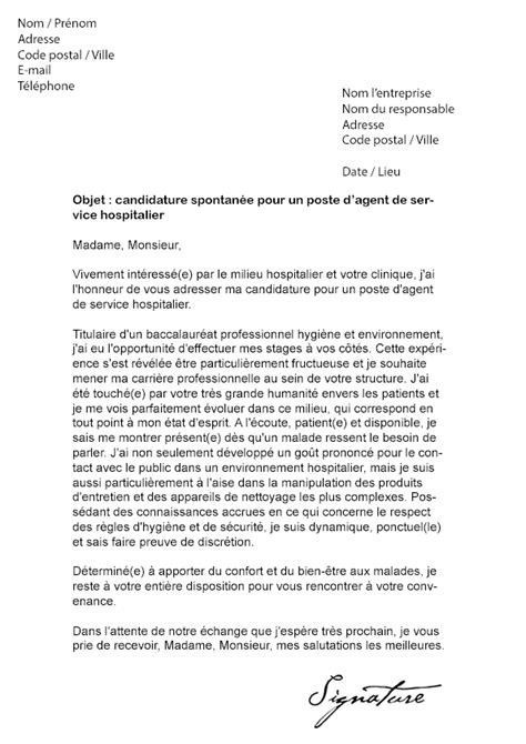 Lettre De Motivation De Ash lettre de motivation ash candidature spontan 233 e lettre de