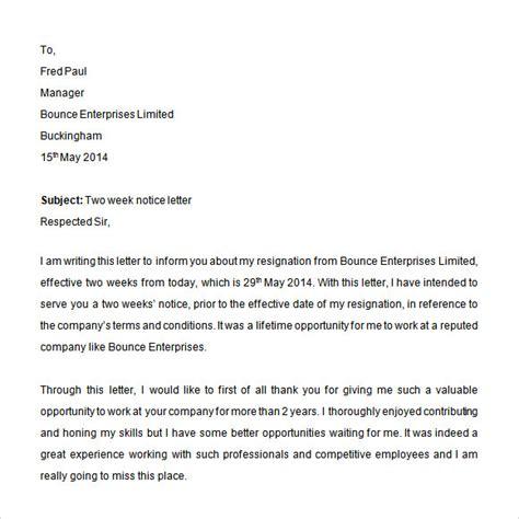 Resignation Letter 2 Week Notice Pdf sle 2 weeks notice 6 in word pdf