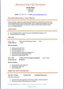 Resume Sle For Chef by Assistant Chef Cv Template Page 1