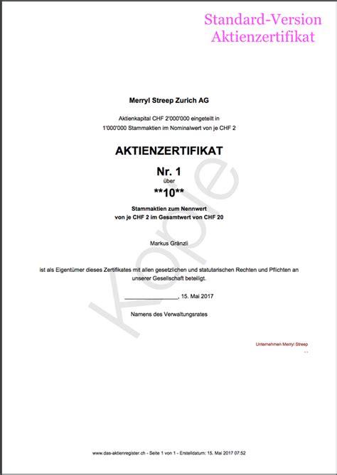Muster Aktienbuch Schweiz umgang mit aktienzertifikaten im aktienbuch www das