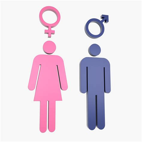 male female bathroom symbols 3d male female symbols model