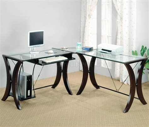 Modern Glass Office Desk Clear Glass Top Espresso Base Modern Home Office Desk