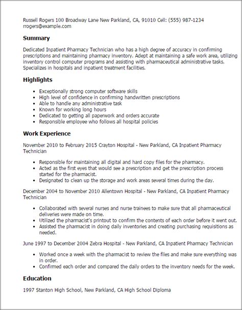 Pharmacy Technician Resume by Professional Inpatient Pharmacy Technician Templates To