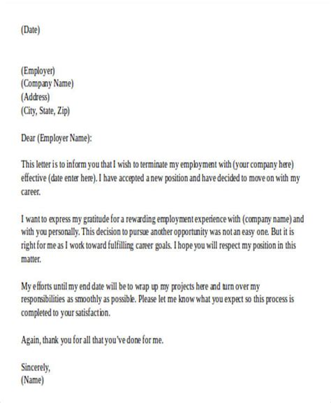 work resignation letter 16 work resignation letter sles templates free