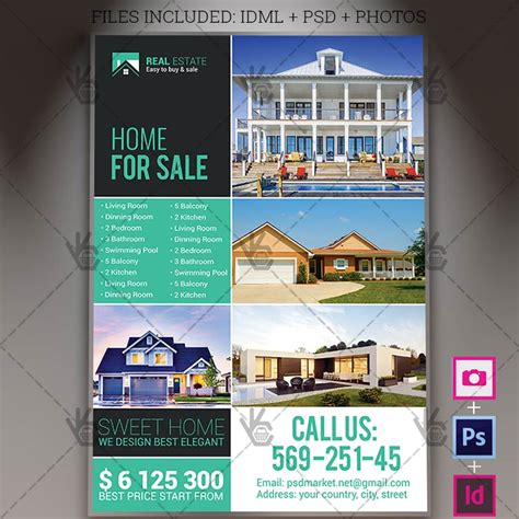 design flyer indesign real estate agency a4 flyer psd template indesign