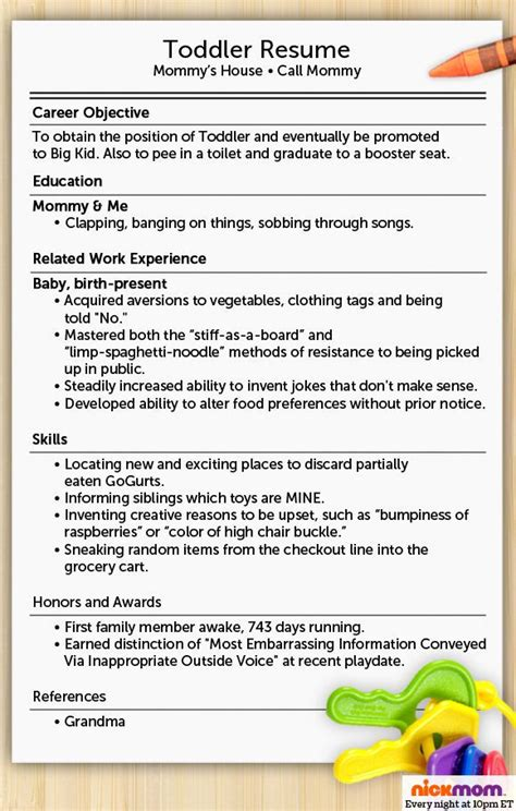 Toddler Resume by 142 Best Images About Parenting Humour On Jokes And Motherhood