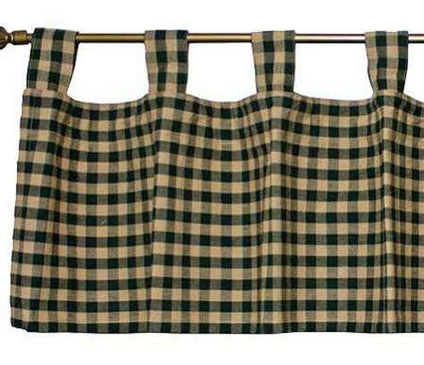 green checkered curtains hunter green checked tab valance primitive decor