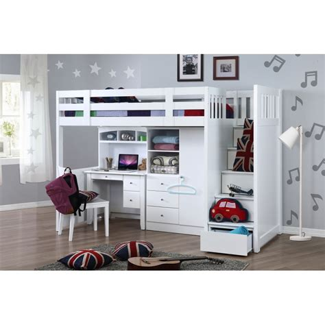 my design bunk bed k single w stair desk w hutch wardrobe