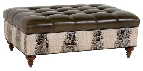 Designer Ottomans Tufted Rectangular Leather Storage Ottoman