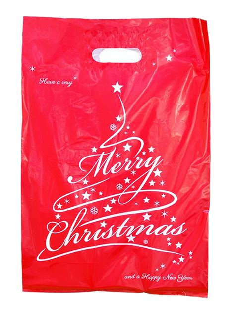 red xmas tree plastic carry bags 520mm by 350mm x 50mm