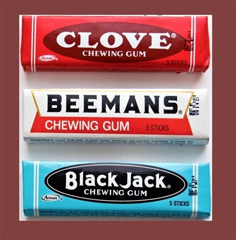 chewing gum brands clove beemans and blackjack chewing gum packages old