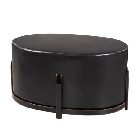 black ottoman desta cushioned espresso brown faux leather ottoman with