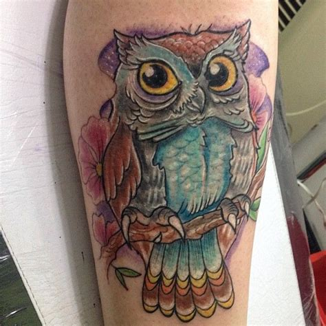 owl tattoo ladies colorful owl tattoo for women cute tattoos pinterest