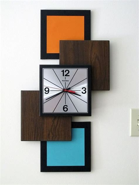 modern clock vintage verichron wall clock mcm mid century modern atomic