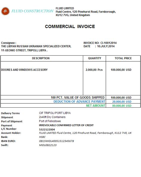 Commercial Invoice Letter Of Credit How To Show An Advance Payment Discount On A Commercial Invoice Advancedontrade Export