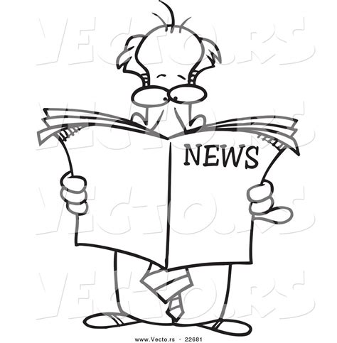 Vector Of A Standing Businessman Reading The News