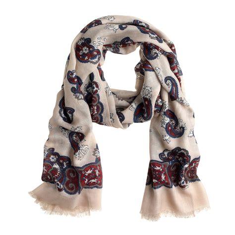 j crew printed airy wool scarf in brown burgundy navy lyst