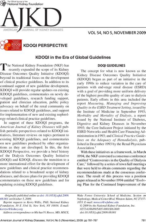 ajkd kdoqi guidelines kdoqi in the era of global guidelines american journal