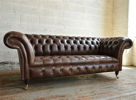 Montana Old English Dark Brown Leather 3 Seater Chesterfield Sofa Brown