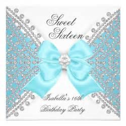Sweet Sixteen Invitation Printable Sweet 16 Invites Blue Sweet 16 Sixteen Teal Blue White Invitation Zazzle