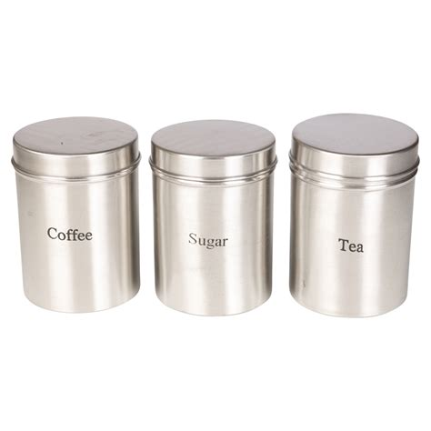 stainless steel kitchen storage canisters set of three 3pc stainless steel storage jars sugar coffee tea kitchen