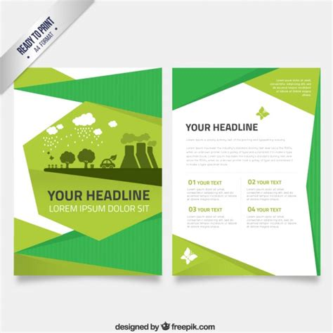 green brochure template flyer template in green tones vector free
