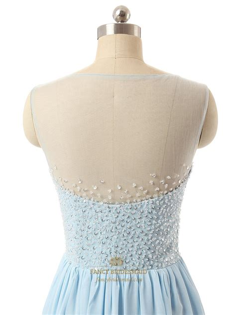 light blue sequin bodice bridesmaid dress with beaded
