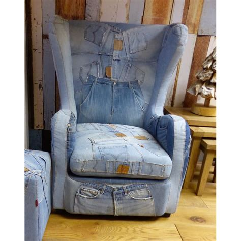 blue levi 501 denim armchair vintage retro industrial