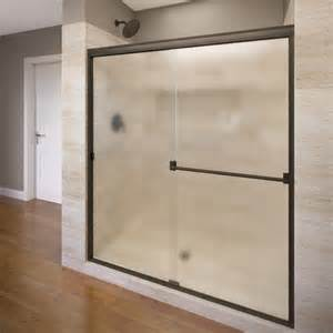 rubbed bronze sliding shower door basco classic frameless bypass sliding shower door
