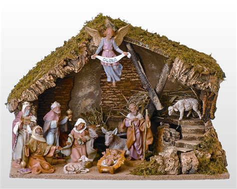 fontanini 11 piece nativity set with italian stable roman